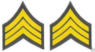 Pair of Military Army Sergeant Rank Insignia patches