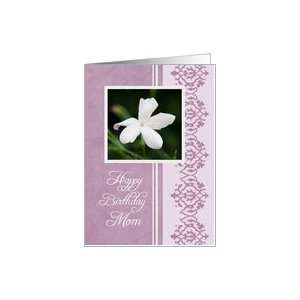 Happy Birthday Mom from Son   Purple & White Flower Card