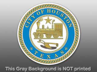 Round Houston Texas Seal Sticker   decal logo us logo
