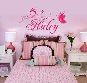 Personalized Butterflies Name Vinyl Wall Decal Sticker
