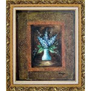 Background Oil Painting, with Ornate Antique Dark Gold Wood Frame 30 x