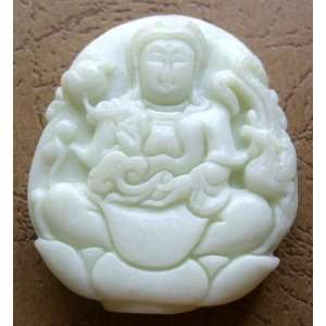 Chinese Jade Buddhist Kwan Yin Phoenix Amulet Pendant