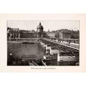 1902 Halftone Print Pont Arts Seine River Institut France