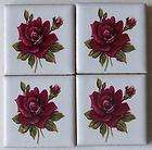 Beautiful Pink Flowers  Handmade Mosaic Art Tiles