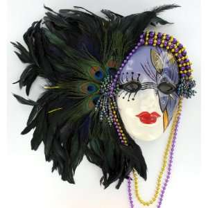 Peacock Feather Clown Painted Lady Face Wall Art Mask: Home & Kitchen