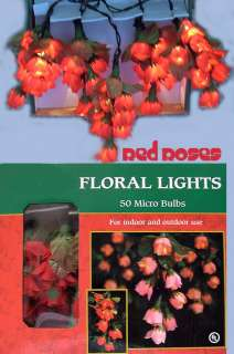 RED ROSES 50 Floral Light Strand Beautiful Valentine
