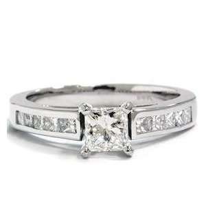 1.25CT Princess Cut Diamond Ring Channel Set 14K White