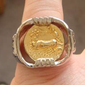 ANCIENT MACEDONIAN STATER GOLD COIN MENS RING STERLING MOUNTING CUSTOM