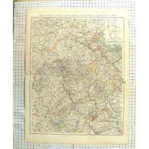 ANTIQUE MAP c1900 RHENISH PRUSSIA GRAND DUCHY HESSE