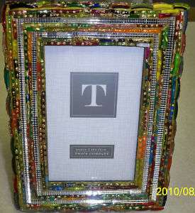 RECYCLED GLASS PHOTO FRAME WITH SILVER MIRRORED ACCENTS