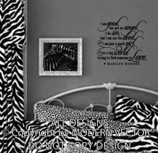 Quote Vinyl Wall Decal NOT AN ANGEL Vinyl Sticker Letters