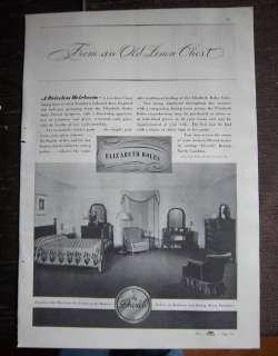 1937 DREXEL FURNITURE Elizabeth Boles Bedroom Ad