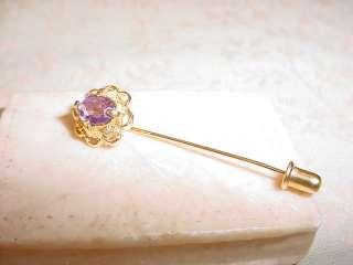 Gold tone Lavender Rhinestone Stickpin to Accent Victorian or
