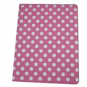 HK Pink With White POLKA DOTS point PU Leather Smart Flip