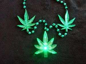 LT UP BLINKING MARIJUANA LEAF WEED MARY JANE MG BEAD