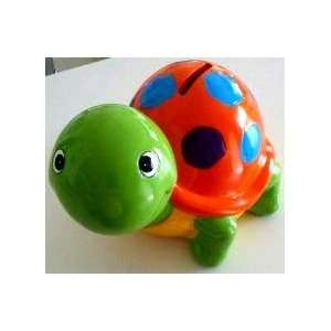 Ceramic Turtle Coin Money Bank, Green: Toys & Games