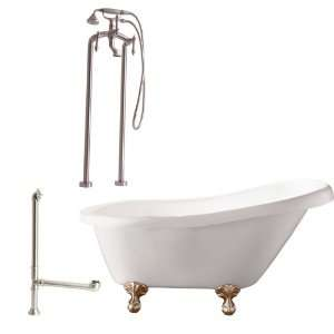 Feet, Drain, Support Brace and Floor Mount Faucet with Hand Shower and