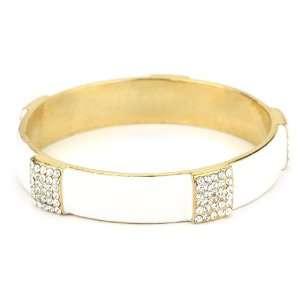 Lisa Stewart White and Enamel Crystal Bangle Bracelet
