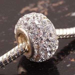 Twinkling White Czech Crystal European Bead 925 Silver