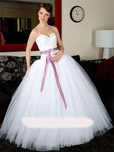 White tulle Bridal Wedding Dress gown sweetheart butterfly sash Size
