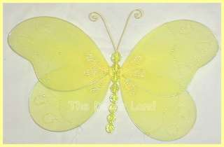10 Yellow BUTTERFLY Wall Hanging Nursery Crystal Decor