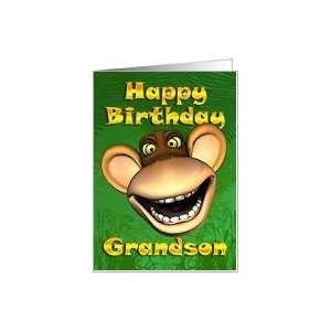 Happy Birthday Grandson Monkey Banana Card: Toys & Games