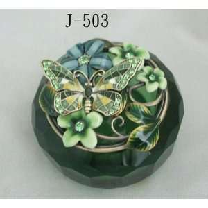 Emerald Glass Jewelry Trinket Box W Mosaic Butterfly and