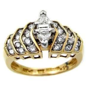 1.15ct Trillion Cut & Round Diamond Ring 10k Yellow Gold