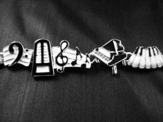 NEW PIANO KEYS MUSIC CHARM BRACELET G CLEF TREBLE NOTE