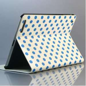 blue dot (point)PU leather case/Flip Stand Case for iPad 2 Polka Dot