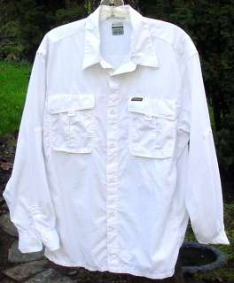Columbia Long Sleeved White Travel Shirt 100% Nylon Velcro Pockets