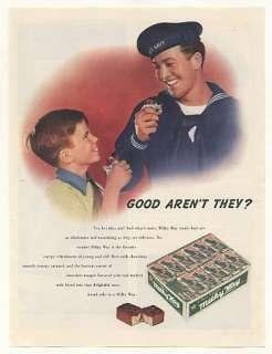 1943 Milky Way Candy Bar US Navy Sailor Boy Print Ad