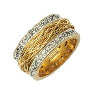 18K Gold Plated Clear Cubic Zirconia Thread Fashion Design Band Ring