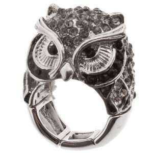 Silver tone stretch band ring with owl design and crystal