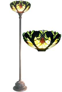 Tiffany Style Stained Glass Victorian Torchiere Floor Lamp
