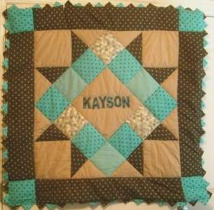Personalized Blue & Brown Baby Boy Quilt Kit w Pattern