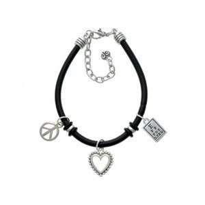 Silver Eye Chart   Black Peace Love Charm Bracelet