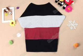 Wide Stripe Batwing Sleeve Blouse Shoulder Top T Shirt