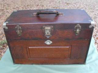 Nice Early 1900s Gerstner Tiger Oak 7 Drawer Machinist Tool Box