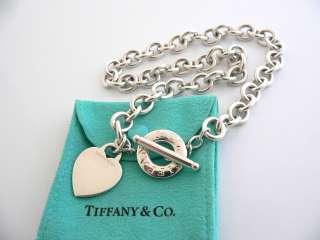 Tiffany & Co Silver Heart Toggle Charm Pendant Necklace Chain Heavy