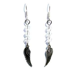 Clear Crystal and Tiny Silver Angel Wings Earrings Jewelry