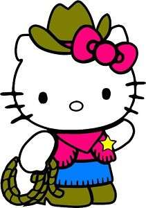 HELLO KITTY COWGIRL HORSE RIDING BARREL STICKER DECAL