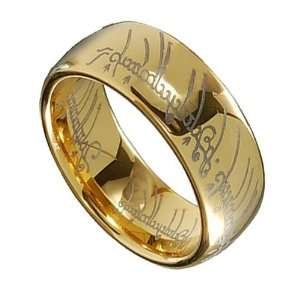 Lotr Gold Plated Tungsten Carbide Lord of the Ring Width