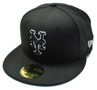 NEW ERA 59Fifty MLB Baseball Fitted Hat Cap New York Mets Black White