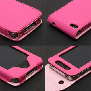 Pink Leather Flip Case Cover Pouch For iPhone 4 4G 4th New