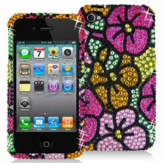 Green Pink Flower Bling Rhinestone Hard Skin Case Cover for Apple