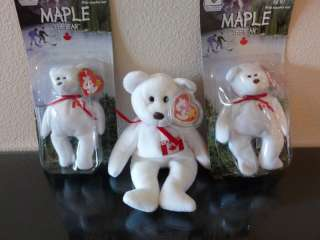 Beanie Baby~RARE Maple Canada Bear+2 mini McDonalds NEW