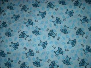 Cute Blue Puppy Dogs, Paw Prints All Over   Fabric 2 yards