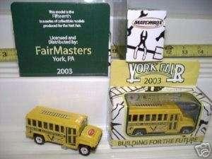 MATCHBOX 2003 YORK FAIR SCHOOL BUS NEW MINT + MINT BOX*