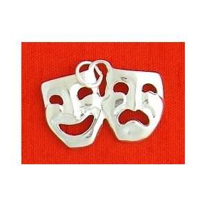 Silver Charm, Comedy/Tragedy Theater Masks, 5/8 inch, 2 grams Jewelry